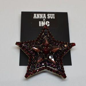 Anna Sui x INC Gold Tone Crystal & Stone Star Pin